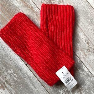 LOFT Red Knit Fingerless Gloves. 1914